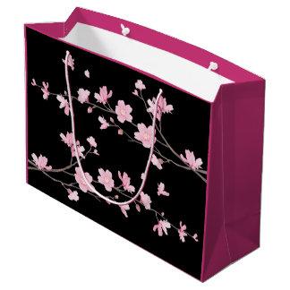 Cherry Blossom - Black Large Gift Bag