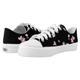 Cherry Blossom - Black Low-Top Sneakers