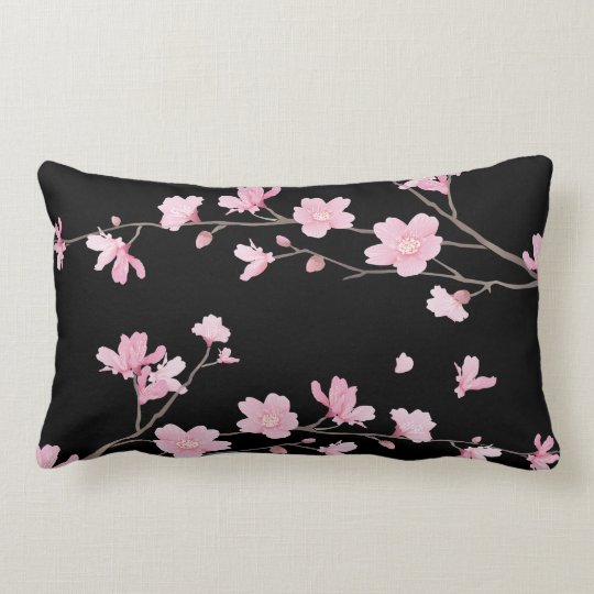 Cherry Blossom - Black Lumbar Pillow