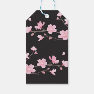 Cherry Blossom - Black Pack Of Gift Tags