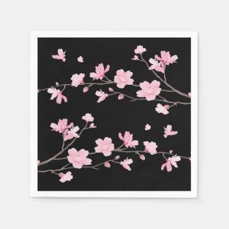 Cherry Blossom - Black Paper Napkin