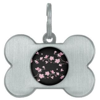 Cherry Blossom - Black Pet ID Tag