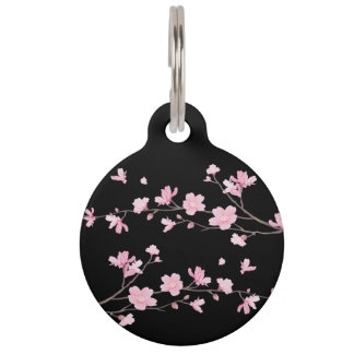 Cherry Blossom - Black Pet Name Tag