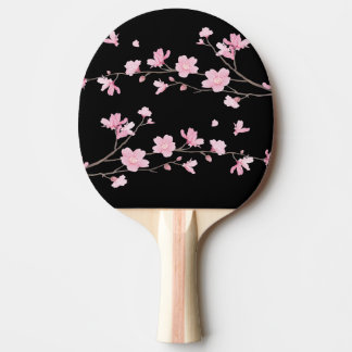 Cherry Blossom - Black Ping Pong Paddle