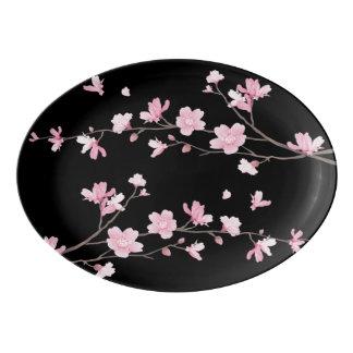 Cherry Blossom - Black Porcelain Serving Platter