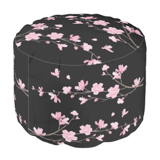 Cherry Blossom - Black Pouf