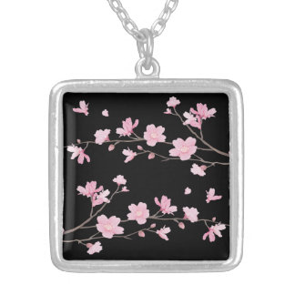 Cherry Blossom - Black Silver Plated Necklace