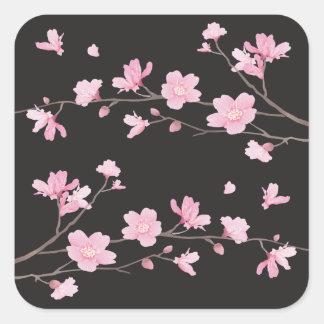 Cherry Blossom - Black Square Sticker