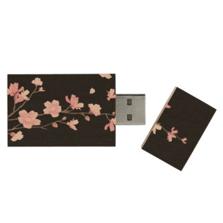 Cherry Blossom - Black Wood USB Flash Drive