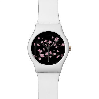 Cherry Blossom - Black Wrist Watch