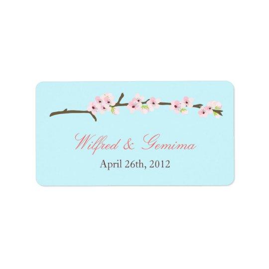 Cherry Blossom Branch Label (Blue)