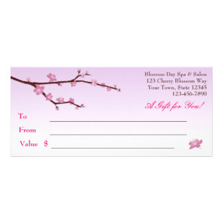 Cherry Blossom Branch, Lilac Gift Certificate Full Colour Rack Card