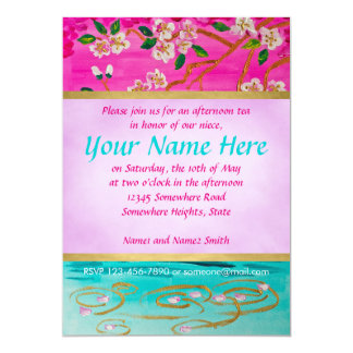 Cherry Blossom Branch Sakura Water Ripple Painting Card