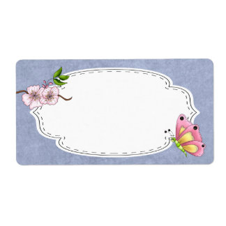 Cherry Blossom Butterfly Label Shipping Label