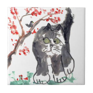 Cherry Blossom Cat and Bird Tile