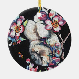 CHERRY BLOSSOM chow Ceramic Ornament