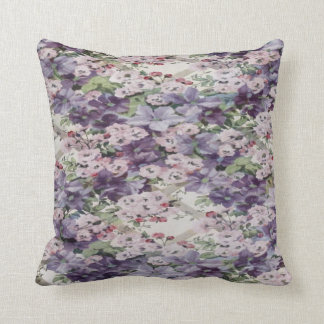 Cherry Blossom & Clematis Throw Cushion