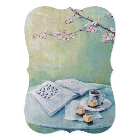 Cherry Blossom, Coffee, Crossword Blank Invitation