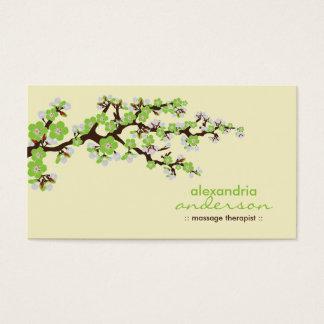Cherry Blossom Custom Business Cards (green)