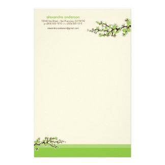 Cherry Blossom Custom Stationery (green)
