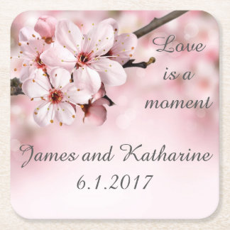 Cherry Blossom Customizable Wedding Coaster