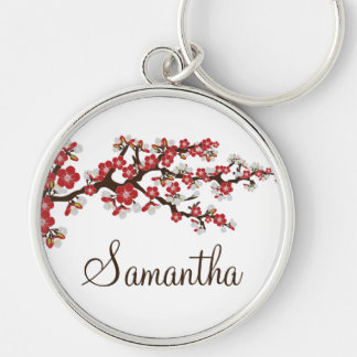 Cherry Blossom Customized Keychain (red)