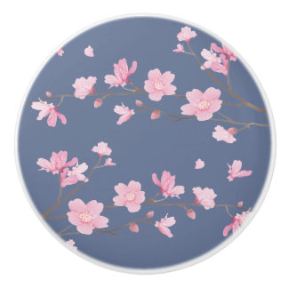 Cherry Blossom - Denim Blue Ceramic Knob