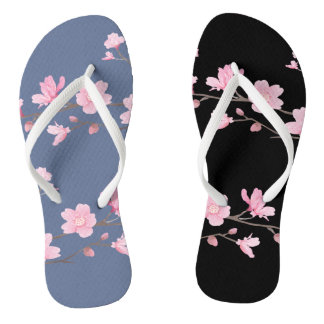 Cherry Blossom - Denim Blue Flip Flops