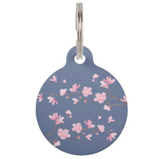 Cherry Blossom - Denim Blue Pet ID Tag