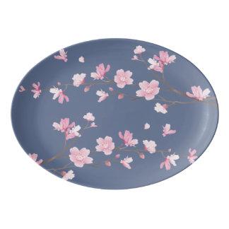 Cherry Blossom - Denim Blue Porcelain Serving Platter