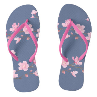 Cherry Blossom - Denim Flip Flops