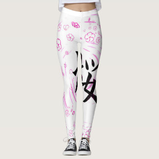 Cherry blossom design leggings