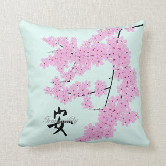 Cherry Blossom Design, with Pale Jade backgroun Throw Pillow