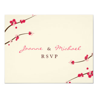 """Cherry Blossom Double Happiness RSVP Card 4.25"""" X 5.5"""" Invitation Card"""