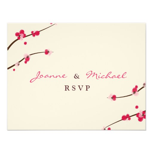 Cherry Blossom Double Happiness RSVP Card Personalized Announcement