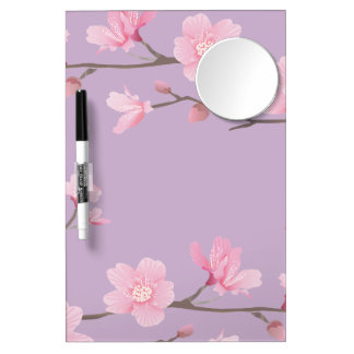 Cherry Blossom Dry Erase Board With Mirror