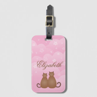 Cherry Blossom Floral Cat Couple in Love Monogram Luggage Tag