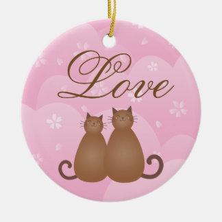 Cherry Blossom Floral Cat Couple Love Calligraphy Ceramic Ornament