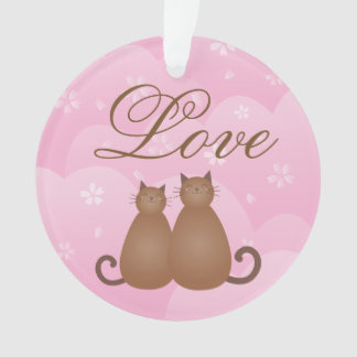 Cherry Blossom Floral Cat Couple Love Calligraphy Ornament