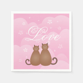 Cherry Blossom Floral Cat Couple Love Calligraphy Paper Napkin