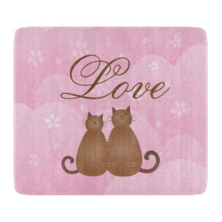 Cherry Blossom Floral Cute Cat Couple Calligraphy Cutting Board