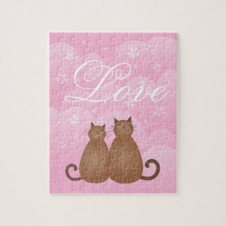 Cherry Blossom Floral Cute Cat Couple Calligraphy Jigsaw Puzzle