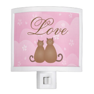 Cherry Blossom Floral Cute Cat Couple Calligraphy Nite Lights
