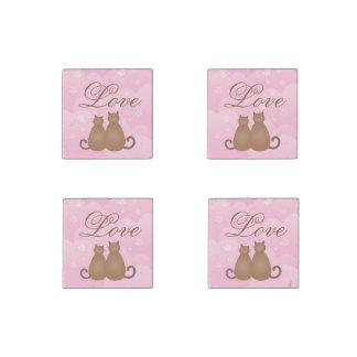 Cherry Blossom Floral Cute Cat Couple Calligraphy Stone Magnets