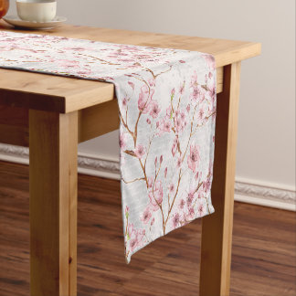Cherry Blossom Flowers Branch Pink Blooms Short Table Runner