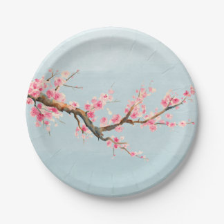 Cherry Blossom Flowers Paper Plate