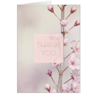 Cherry Blossom Flowers Thank you Card