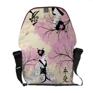 Cherry Blossom Geisha Courier Bags