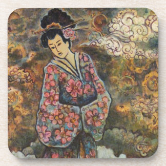 Cherry Blossom Geisha, Fine Art Products Beverage Coasters