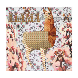 Cherry Blossom Golden Llama Canvas Stretched Canvas Print